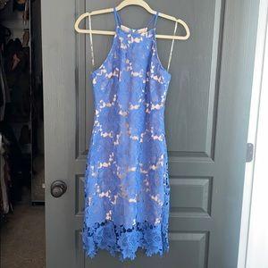 Blue sleeveless nude illusion dress.